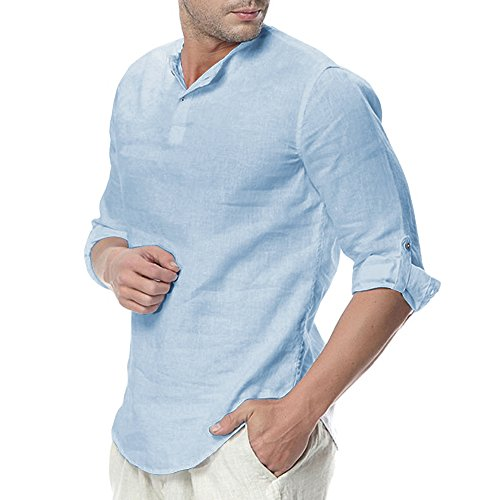 Mens Linen Henley Shirt Casual 3/4 Sleeve T Shirt Pullover Tees V Neck Curved Hem Cotton Shirts Beach Tops Sky Blue