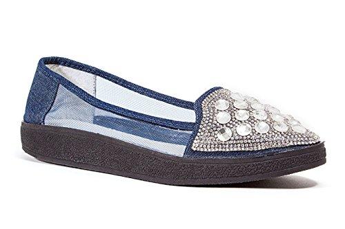 Dame Couture Baskets Mode Plat Avec Strass Et Maille Chaussures Pour Femmes Par, Denim Ciel