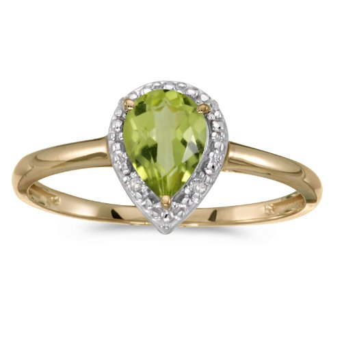 Jewels By Lux 14k Yellow Gold Genuine Green Birthstone Solitaire Pear Peridot And Diamond Wedding Engagement Ring - Size 6 (3/5 Cttw.) (Pear Peridot Ring)