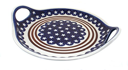 Polish Pottery Stars & Stripes Round Serving Tray with Handles ()