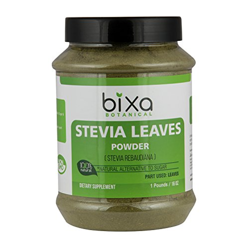 Stevia Leaf Powder (Stevia Rebaudiana) - Unprocessed Stevia Sugar | Helps to Control Blood Sugar and Blood Pressure Level | Natural Alternative to Processed Sugar (16 Oz/1 Pound) by bixa BOTANICAL