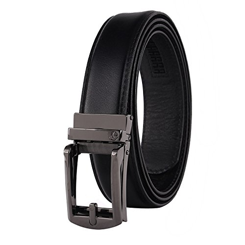 NPET AT010 Men's Full Grain Ratchet Click Belt Luxury Genuine Leather Dress (31 Black Track)