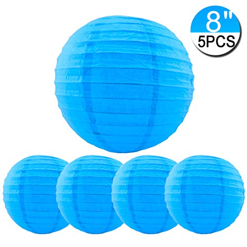 5 Packs Blue Hanging Paper Round Lanterns 8 inch Decorative for Halloween Birthday Bridal Wedding Baby Shower Parties Assorted Sizes (Blue, 8'') ()