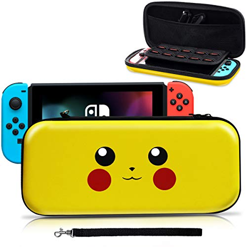 Nintendo Switch Carrying Case,[Design for Let's Go Pikachu/Eevee Pouch][Full Protective] for Pokemon Switch Case,Deluxe Travel Case Bag for Nintendo Switch Joy-Con & Accessories
