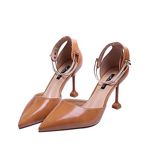 GTVERNH Superficiale Bocca Scarpe A Punta Metallo Caviglia Buckle 8Cm Sottile Tallone Sola Scarpa Tacco Sottile Il Gatto E Il Tallone.…