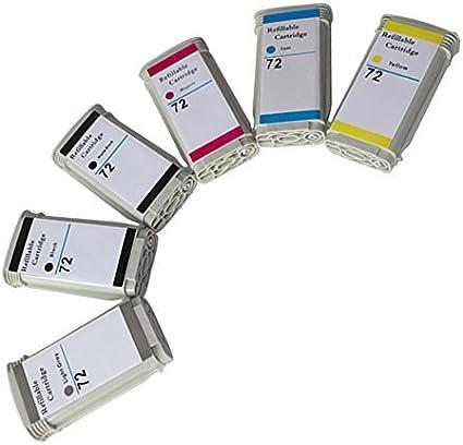 Cartucho de elección 6 Pack (MK, PHK, C, M, Y, GY) cartuchos de tinta compatibles HP 72 para HP DesignJet T610/620/770/1100/1200: Amazon.es: Oficina y papelería