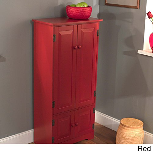 Tall Kitchen Cabinet – Red – Has Two Fixed and Two Adjustable Shelves