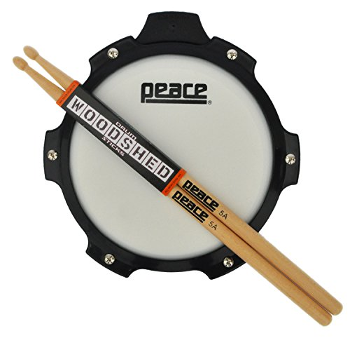 Practice Drum Pad And Sticks Practice Pad Set From Peace Drums. Percussion Practice Pad Drum Set Includes 5a Drum Sticks And 8 Inch Snare Practice Pad. Excellent Beginner Drum Pad Set (Rubber Drumsticks)