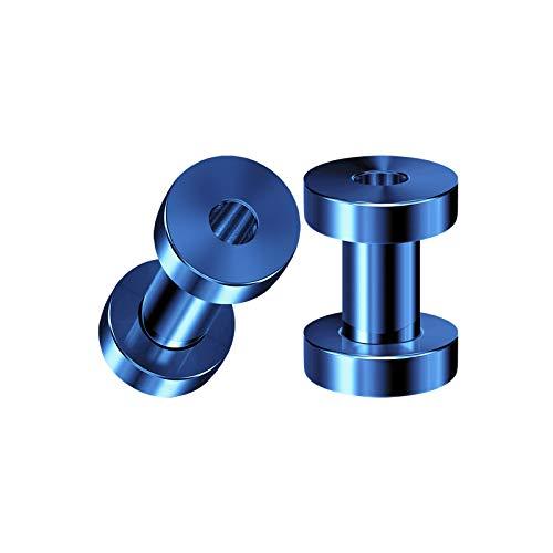 BIG GAUGES Pair of Stainless Steel 6g Gauge 4mm Dark Blue Anodized Screw Flesh Tunnels Piercing Ear Stretching Lobe Plugs Earring BG3802 -