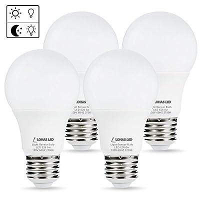 LOHAS LED Dusk to Dawn Light Sensor Bulbs, A19 LED Smart Sensor Porch Lights, 40 Watt Equivalent, E26 Edison Base, Warm White(2700K) Automatic Security Light for indoor/Outdoor Lighting, Pack of 4