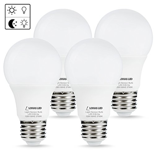 LOHAS LED Dusk to Dawn Bulb Sensor Light Bulb, 6W A19 LED for 40 Watt Equivalent, Warm White 2700K, Automatic Light Sensor Bulbs with Photosensor, Auto on&off indoor security light (4 PACK) - 4 Light Elements