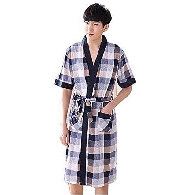 Flaydigo Man Plus Size Short Sleeve Cotton Bath Robe Dressing Gown Wrap Nightwear