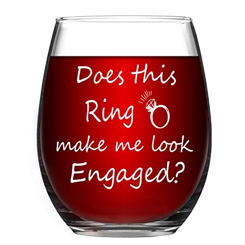 Engagement Gift - Wine Glass Does This Ring Make Me Look Engaged - Funny Stemless Wine Glass 15oz - Funny Stemless Wine Glass for Her, Wedding Gift Idea, Great Gift for Couple Fiance Women ()