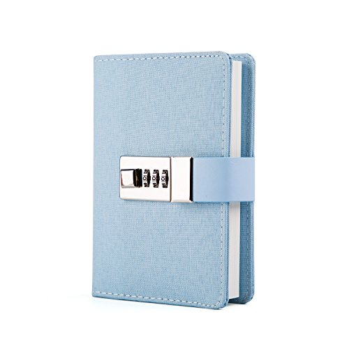 Lock Journal Combination Lock Writing Travel Diary a7 Mini Notebook Blue by CAGIE