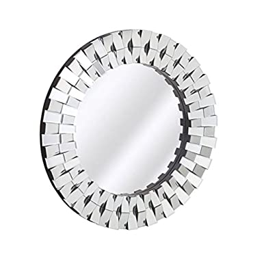 Majestic Mirror Contemporary Round Silver Ornate Beveled Paneled Accent Mirror
