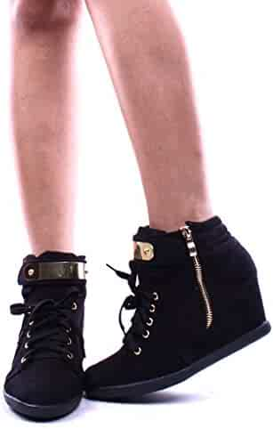 600705ab32c Forever Link METAL DESIGN LACE UP ZIPPER CLOSURE WEDGE SNEAKER BOOTIES Shoes