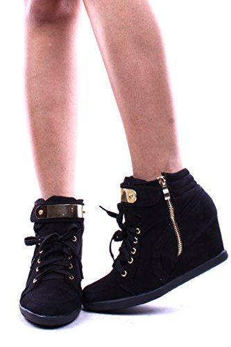 Voor Altijd Link Metalen Ontwerp Vetersluiting Wiggen Sneak Sneaker Booties Schoenen Zwart