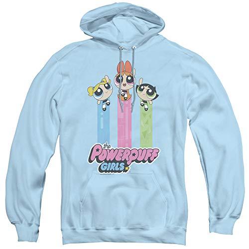 Powerpuff Girls The Girls Fly Unisex Adult Pull-Over Hoodie for Men and Women, Medium Light Blue ()