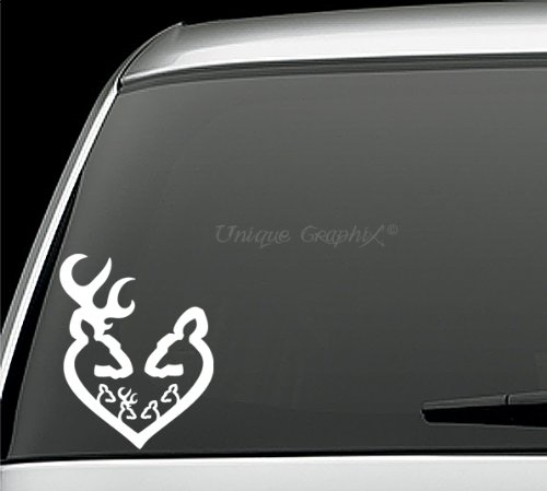 Deer Buck Doe Family heart Vinyl decal window sticker