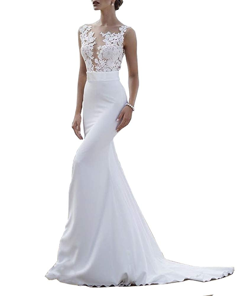 Awhite Sweet Bridal Women's Lace Appliques Mermaid Sweep Train Wedding Dresses Long Bridal Gowns