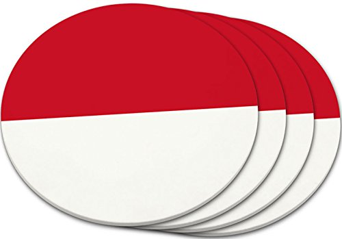 "Custom & Cool {4'' Inches} Set Pack Of 4 Round Circle ""Grip Texture"" Drink Cup Coasters Made of Plastic w/ Cork Bottom w/ Indonesia National Country Flag Design [Colorful Red & White] by mySimple Products"