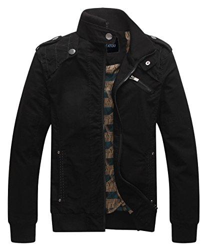Chouyatou Men's Casual Long Sleeve Full Zip Jacket With Shoulder Straps (Large, Black) by Chouyatou