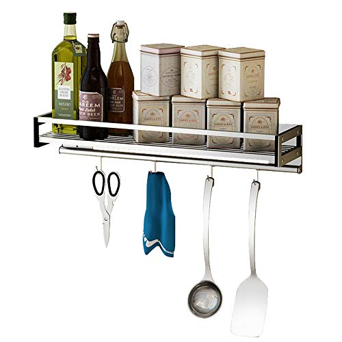 (Kitchen Pendant Wall-mounted Spice Rack Punch Free Seasoning Shelf Stainless Steel Multifunction Storage Rack (Size : 80cm))
