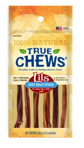 True Chews Dog Treats, Lils Beef Bully Sticks, 6-Count Package (Pack of 5), My Pet Supplies