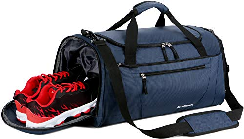 (Mouteenoo Gym Bag 40L Sports Travel Duffel Bag for Men and Women with Shoes Compartment (One_Size, Blue))