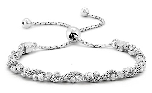 Pori Jewelers Italian .925 Sterling Silver Diamond-Cut Ball Covered by Twisted Coreana Adjustable Bolo Bracelet (Silver) ()