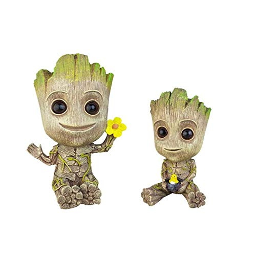Groot Action Figures Guardians of The Galaxy Flowerpot Baby Cute Model Toy Pen Pot - Perfect as a Gift (2 Pack )