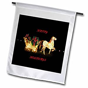 Florene Holiday - Reindeer n Sleigh All Lit Up With Happy Holidays - 18 x 27 inch Garden Flag (fl_62303_2)