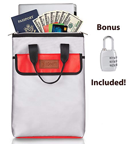 Fireproof Bag and Fireproof Safe | Bonus High Security Padlock | Unique Double Zipper Design | Extra Storage Pouch | Non-Itchy Silicone | Water Resistant | Fireproof Money Bag | Fireproof Document Bag