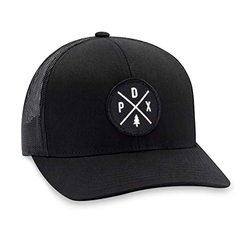 Portland Hat - PDX Trucker Hat Baseball Cap Snapback Golf Hat (Black)