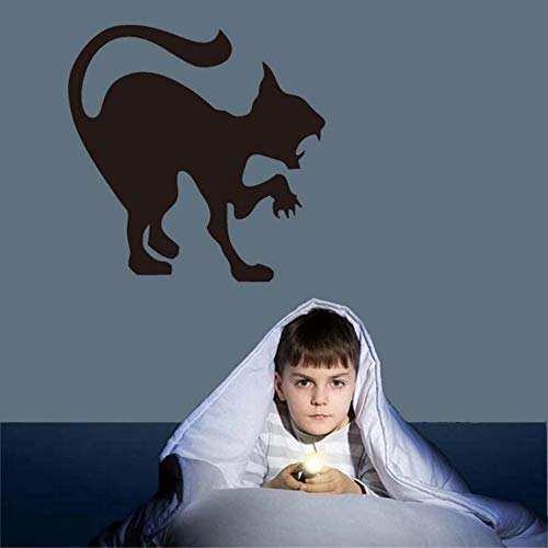 wanghan Scary Black Cat Halloween Party Decals Modern Wall Stickers for Kids Room Living Room Home Decor Waterproof Accessory Wallpaper -
