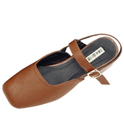 Varvas sandalit Solki Neliö Slingback Ruskea Tyyliin Binying Paksu Naisten gEROqnw