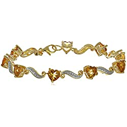 Yellow Gold Flashed Sterling Silver Citrine and Diamond Accent Heart Wave Bracelet, 7.25""