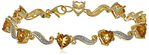 Yellow Gold Flashed Sterling Silver Citrine and Diamond Accent Heart Wave Bracelet, 7.25