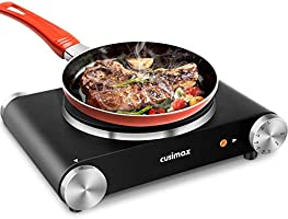 CUSIMAX Portable Hot Plate Burner for Electric Cooking, 1500w Single Countertop Burner with Knob Control to Adjustable...