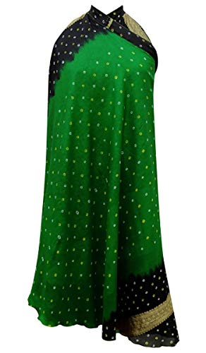 Indianbeautifulart Les Femmes Check Imprimer Pure Soie Vintage Saree rversible Rouge Wrap Summer Beach Dress Vert & Beige