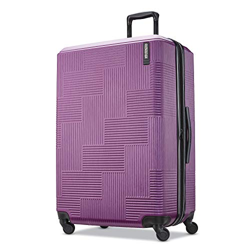American Tourister Stratum XLT Expandable Hardside Luggage with Spinner Wheels, Power Plum, Checked-Large 28-Inch
