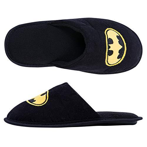 DC Comics Batman Mens Slippers - Officially Licensed Batman Mens Slippers (Black, Large - Fits Shoe Sizes 11-12)