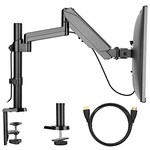 Monitor Mount Stand - Adjustable Single Arm Desk Vesa Mount with Clamp, Grommet Base, HDMI Cable for LCD LED Screens Up to 32 Inch, Gas Spring Articulating Full Motion Arm -