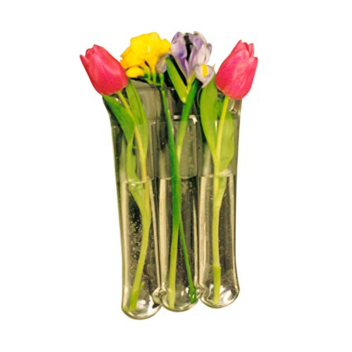 Gadjit Vinyl Window Vase for 3 Blossoms - Suctions to Windows and Mirrors, Holds 3 Flower Stems and Water, Clear Flexible Vinyl