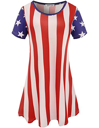 Aphratti Women's Short Sleeve July 4th Summer Gift Print Casual Flare Swing Dress American Flag X-Large by Aphratti (Image #7)