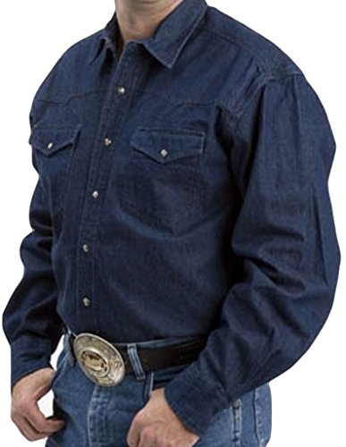 Roper Western Shirt Mens L/S Snap Denim XLT Navy 06-001-0725-0021 NA