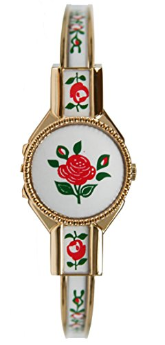 Avalon Women's Swiss Rose Style Gold-Tone Covered Bangle Watch # 3773-2 -