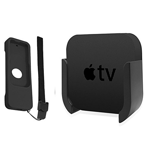 TV Mount for Apple TV 4th and 4K 5th Generation, Wall Mount Bracket Holder with Bonus Remote CASE for Apple TV 4th / 4K 5th Gen. (Black)