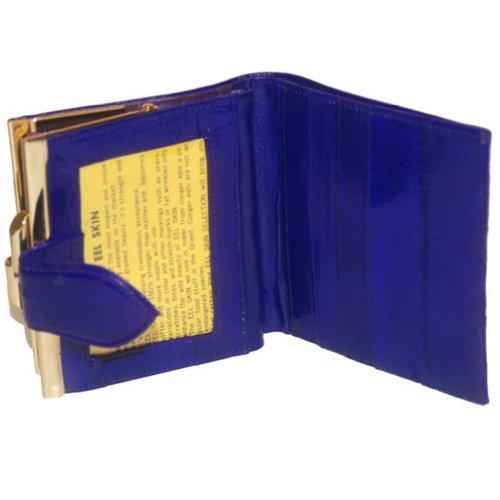 French Frame Eelskin Wallet (Blue)