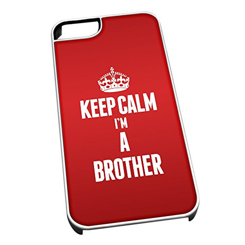 Bianco cover per iPhone 5/5S 2536 Red Keep Calm I m A Brother